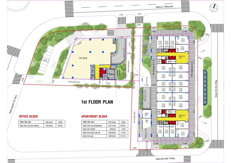 Mặt bằng tầng 1 dự án căn hộ condotel chung cư Takashi Ocean Suite Quy Nhơn Đường Nguyễn Tất Thành