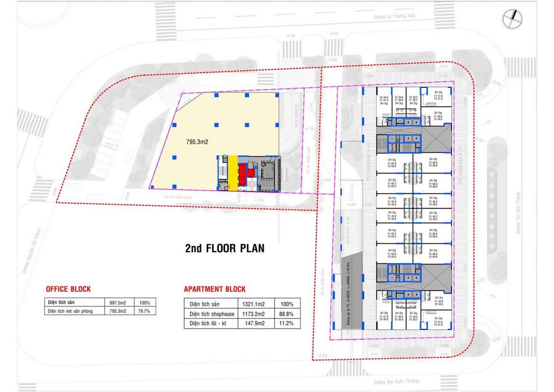 Mặt bằng tầng 2 dự án căn hộ condotel chung cư Takashi Ocean Suite Quy Nhơn Đường Nguyễn Tất Thành