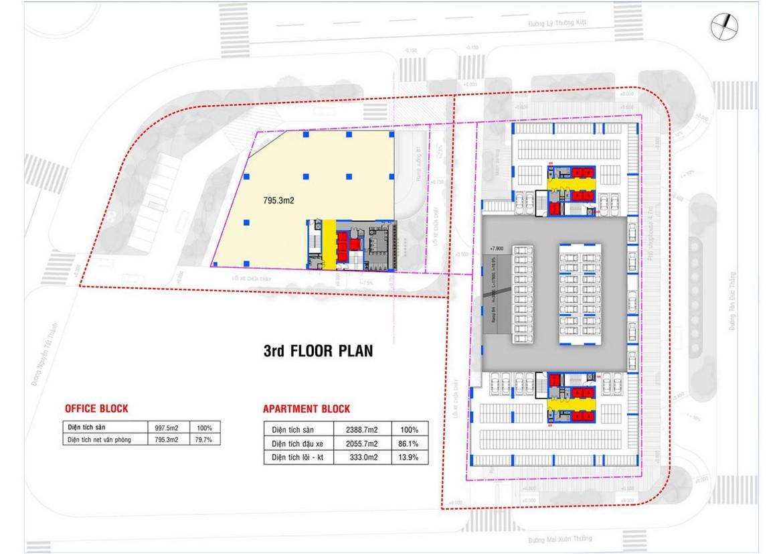 Mặt bằng tầng 3 dự án căn hộ condotel chung cư Takashi Ocean Suite Quy Nhơn Đường Nguyễn Tất Thành