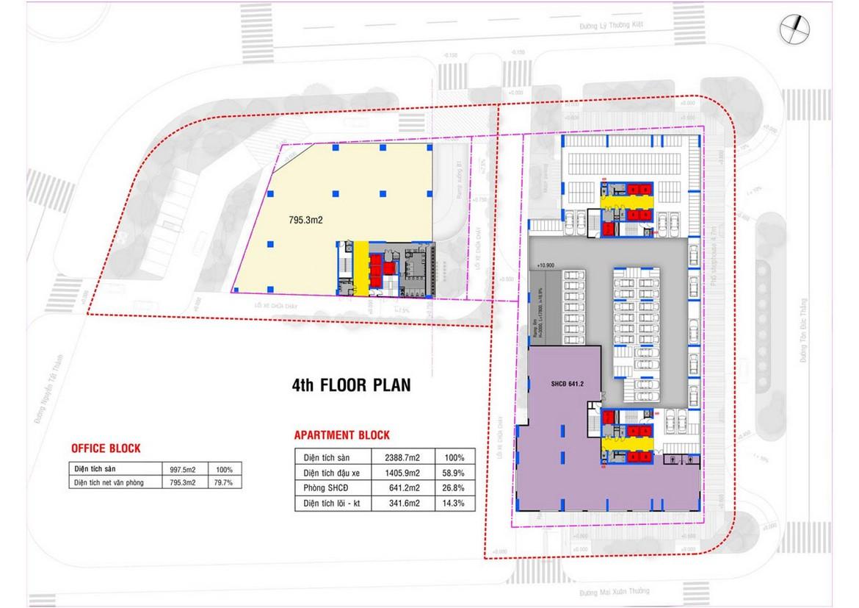 Mặt bằng tầng 4 dự án căn hộ condotel chung cư Takashi Ocean Suite Quy Nhơn Đường Nguyễn Tất Thành