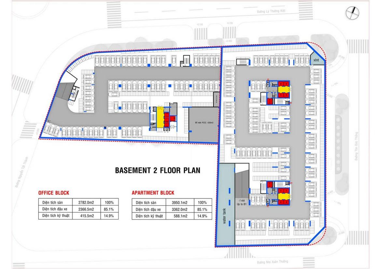 Mặt bằng tầng hầm 2 dự án căn hộ condotel chung cư Takashi Ocean Suite Quy Nhơn Đường Nguyễn Tất Thành