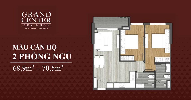 Thiết kế chi tiết căn hộ 2 phòng ngủ dự án Takashi Ocean Suite Quy Nhơn