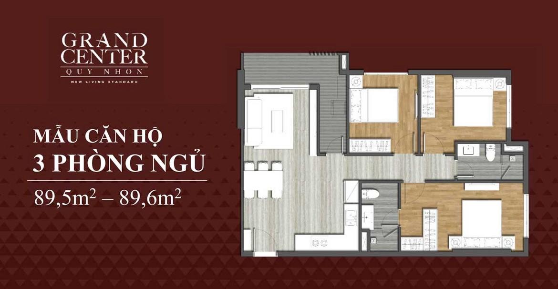 Thiết kế chi tiết căn hộ 3 phòng ngủ dự án Takashi Ocean Suite Quy Nhơn